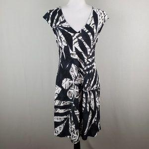 Jams World V Neck Short Sleeve Dress Leaf Pattern